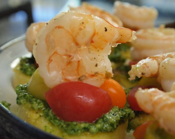 Shrimp and Pesto Polenta Crostinis