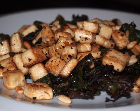 Roasted Tofu with Kale and Pine Nuts