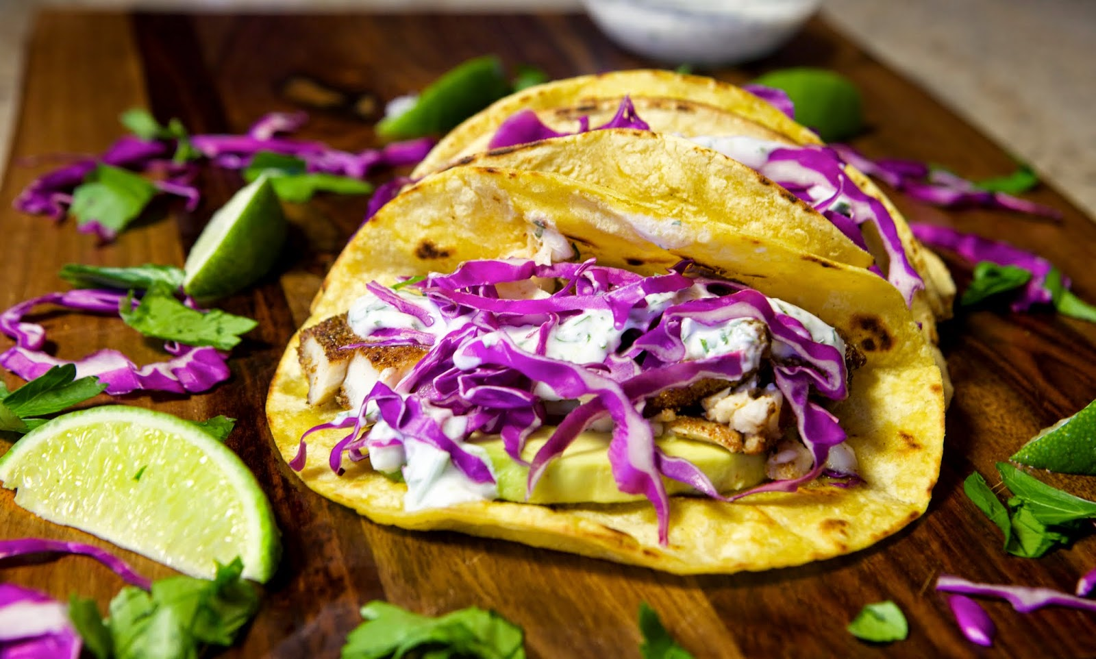 Fish tacos with cilantro lime sauce lake shore lady for How to prepare fish tacos