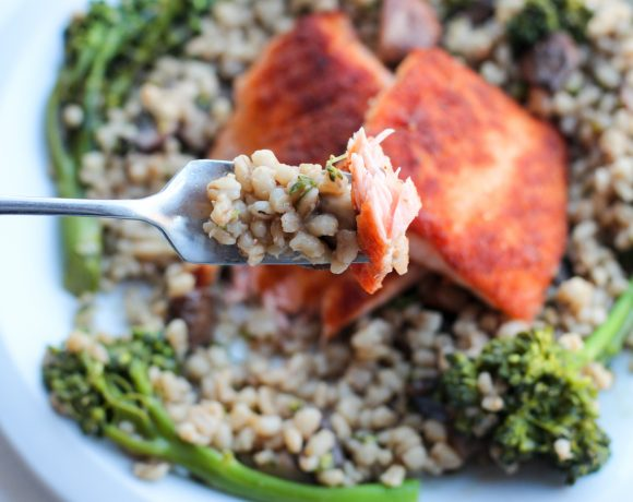 Madison & Rayne: Ginger Crusted Salmon with Miso Barley