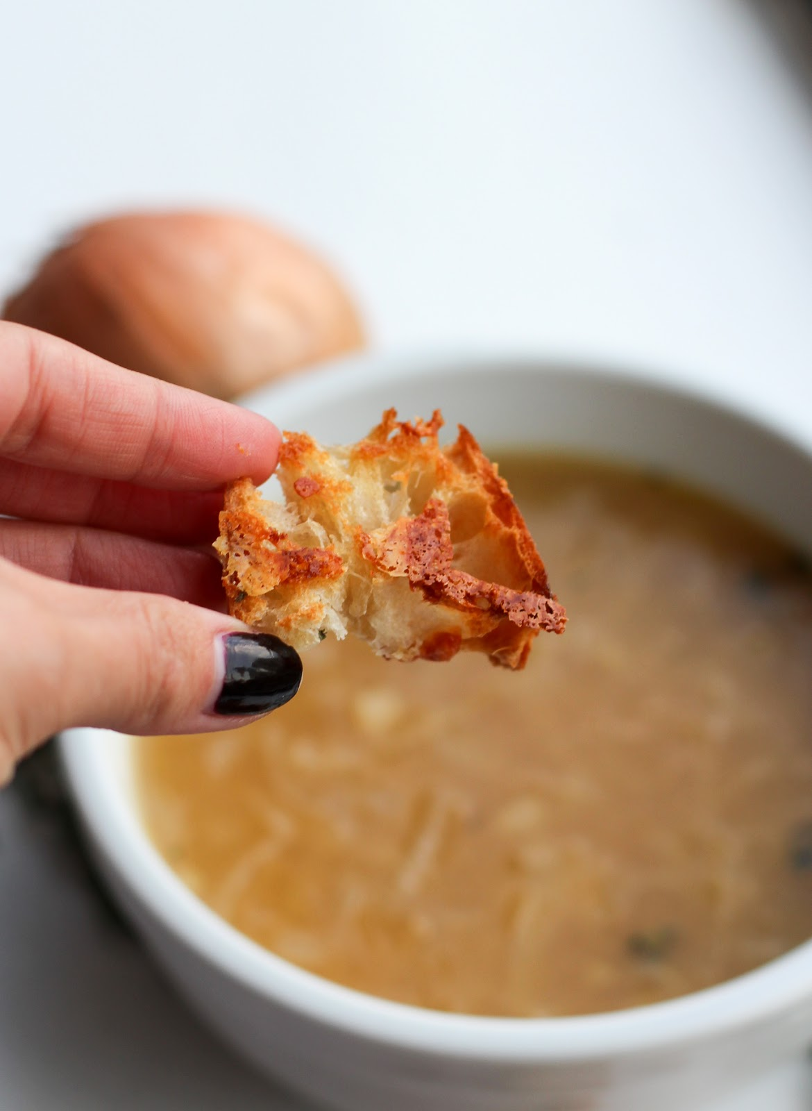 French Onion Soup with Gruyere + Thyme Croutons - Lake Shore Lady