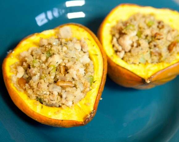 Quinoa and Chicken Stuffed Acorn Squash