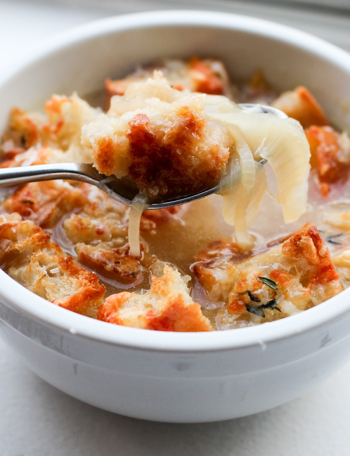 French Onion Soup with Gruyere + Thyme Croutons - Lake ...