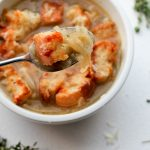 French Onion Soup with Gruyere + Thyme Croutons