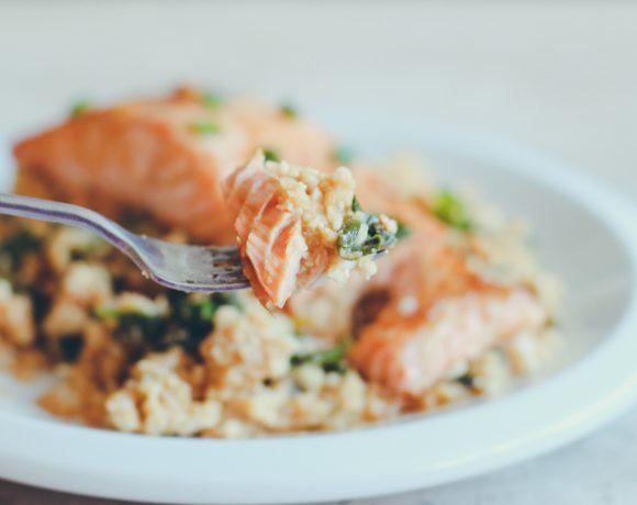 Ginger Garlic Salmon with Cauliflower Rice