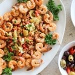 Mediterranean Chicken Wings, Shrimp & Couscous Salad