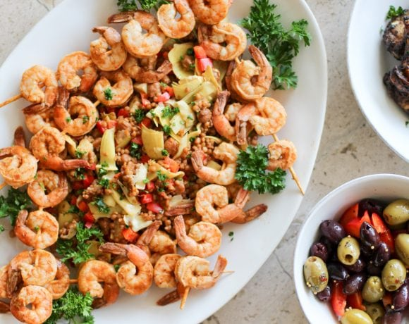 Mediterranean Chicken Wings, Shrimp & Couscous Salad