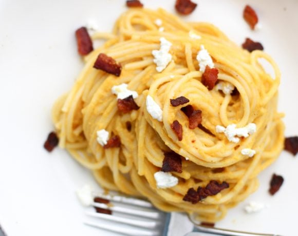 Pumpkin Goat Cheese Sauce with Bacon