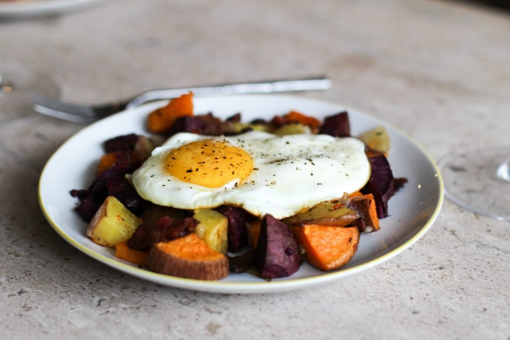Peach Bellinis + Colorful Potato Hash