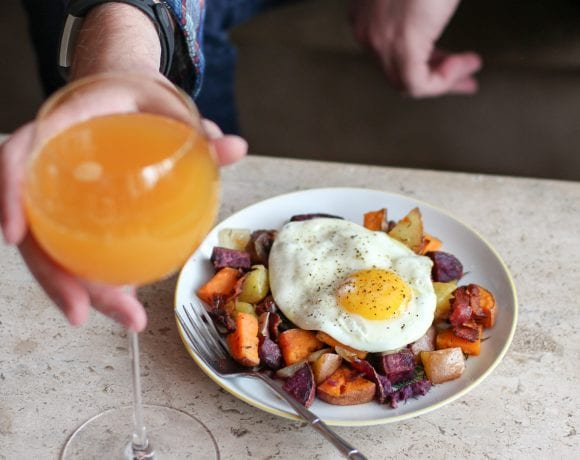 Colorful Potato Hash + Peach Bellinis