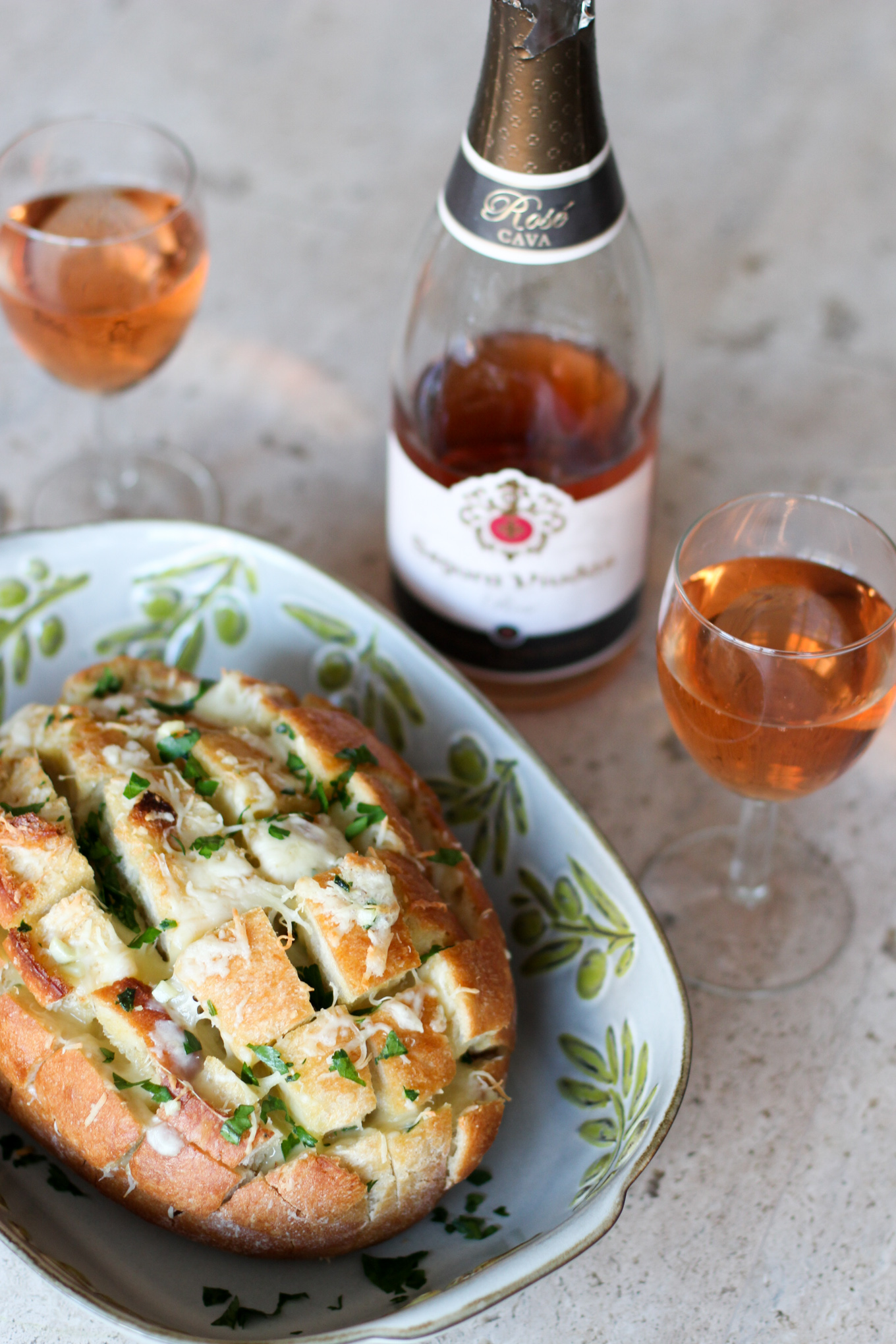 Cheesy Garlic Pull Apart Bread + Rosé Cava - Lake Shore Lady
