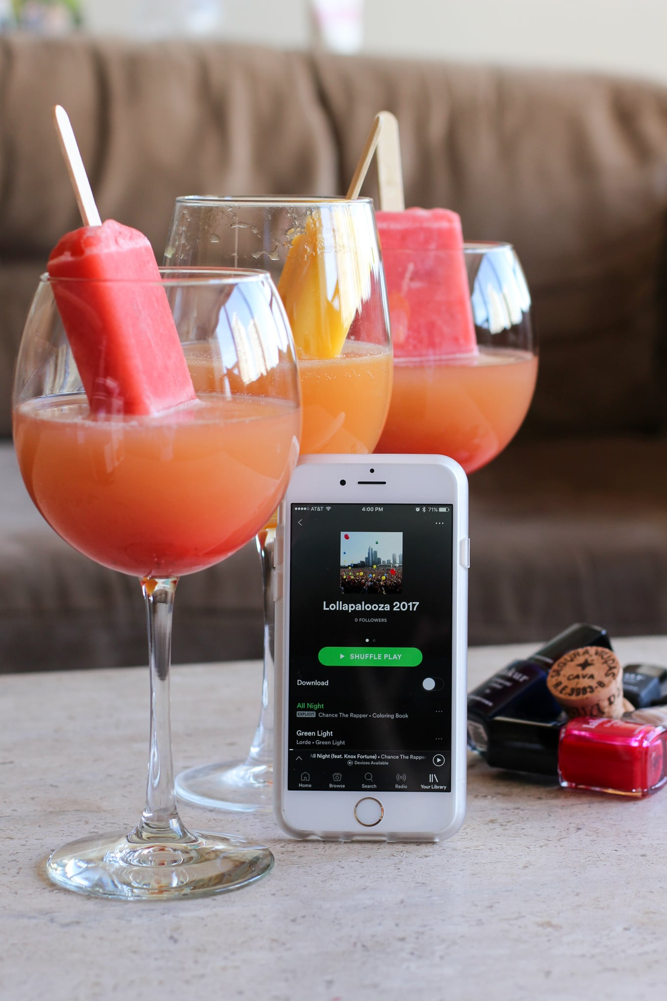 Cava Popsicle Cocktail + a Lollapalooza Playlist - Lake Shore Lady