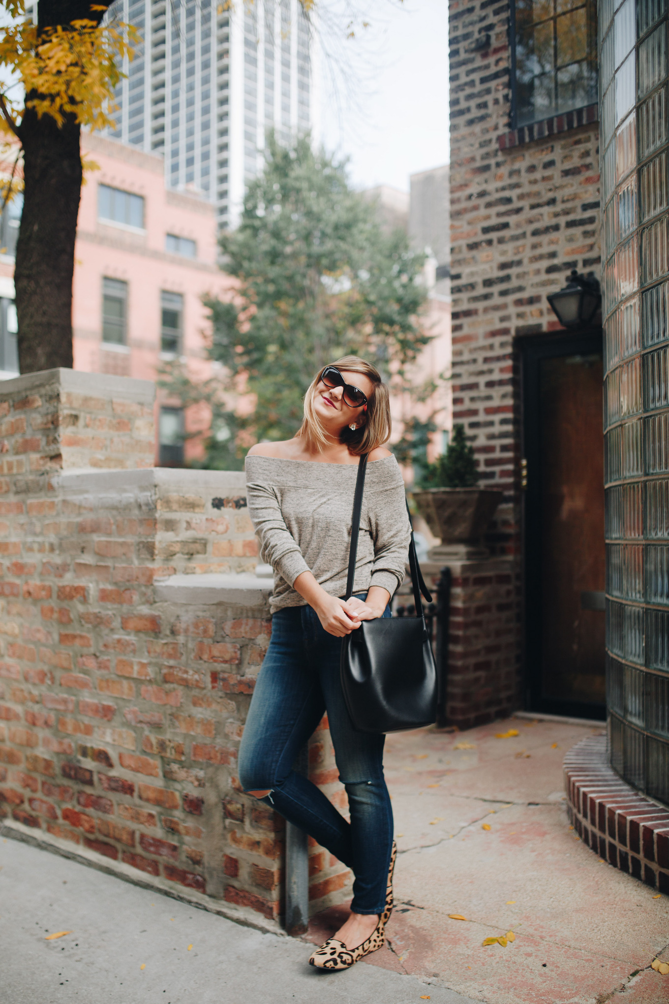 Shopbop Sale / Off the Shoulder Sweater and J Brand Jeans - Lake Shore Lady