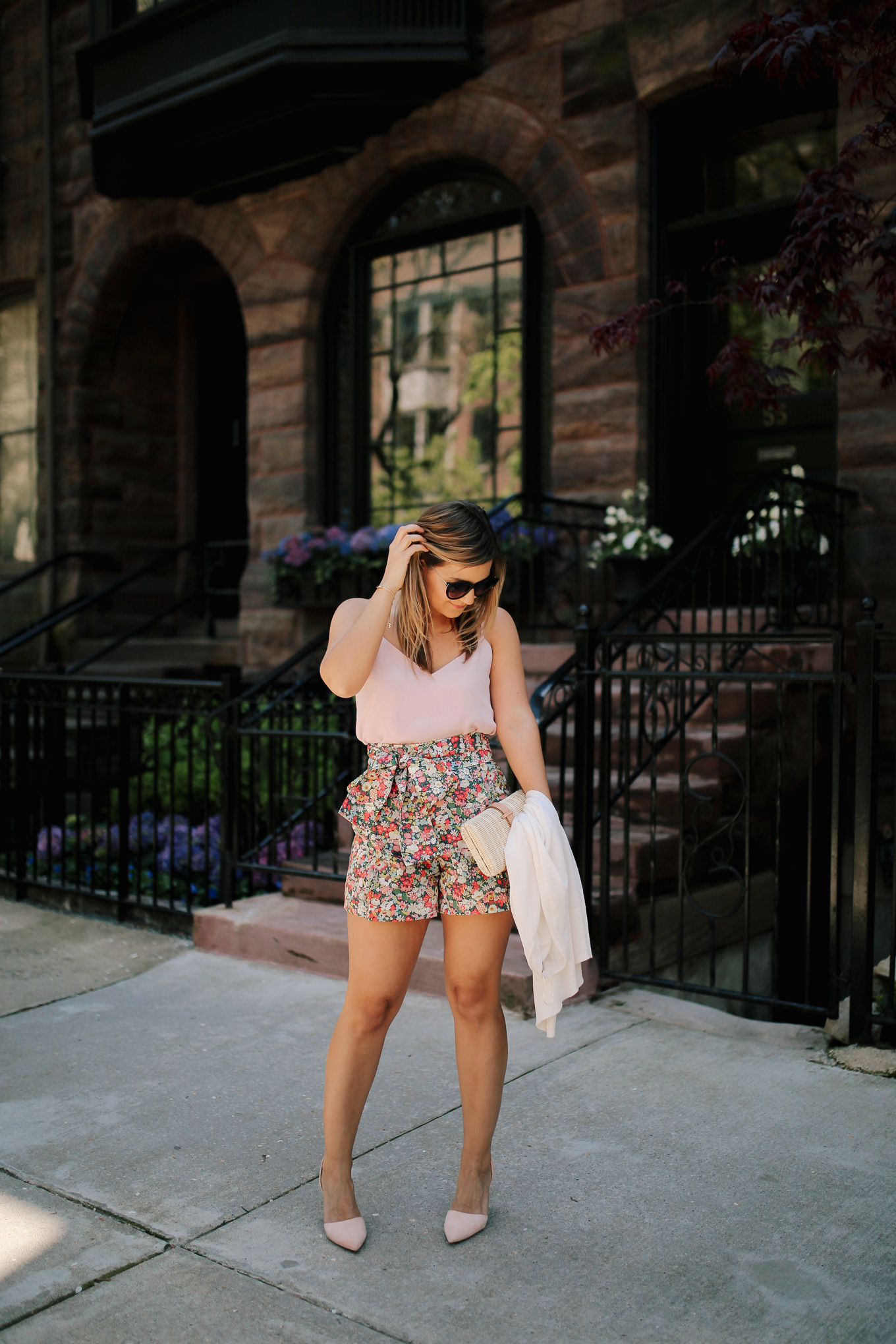 Tie Waist Floral Shorts - Lake Shore Lady