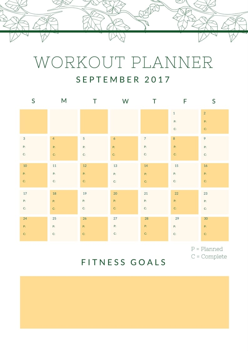 September Workout Planner