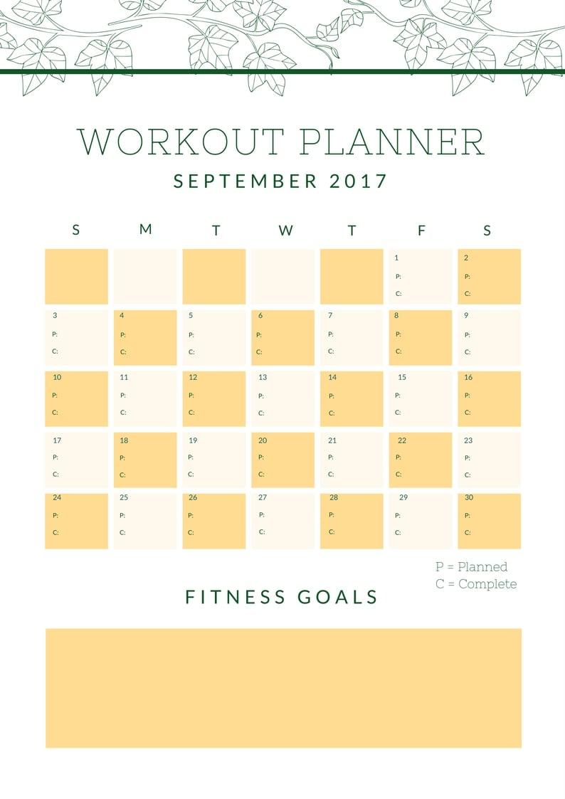September Workout Planner