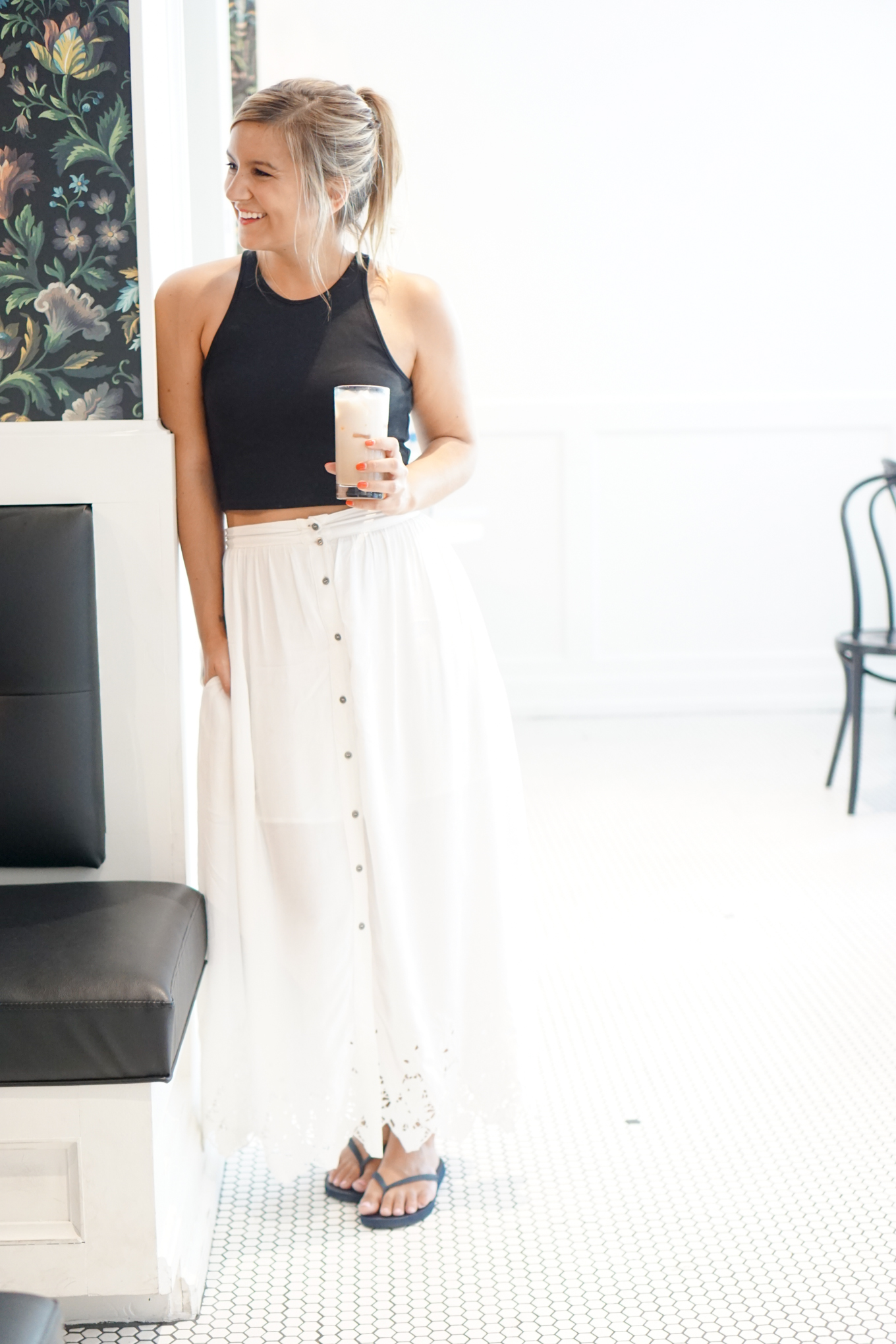 crop top + white maxi skirt