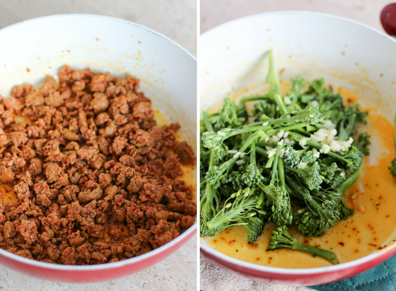 spicy sausage and broccolini