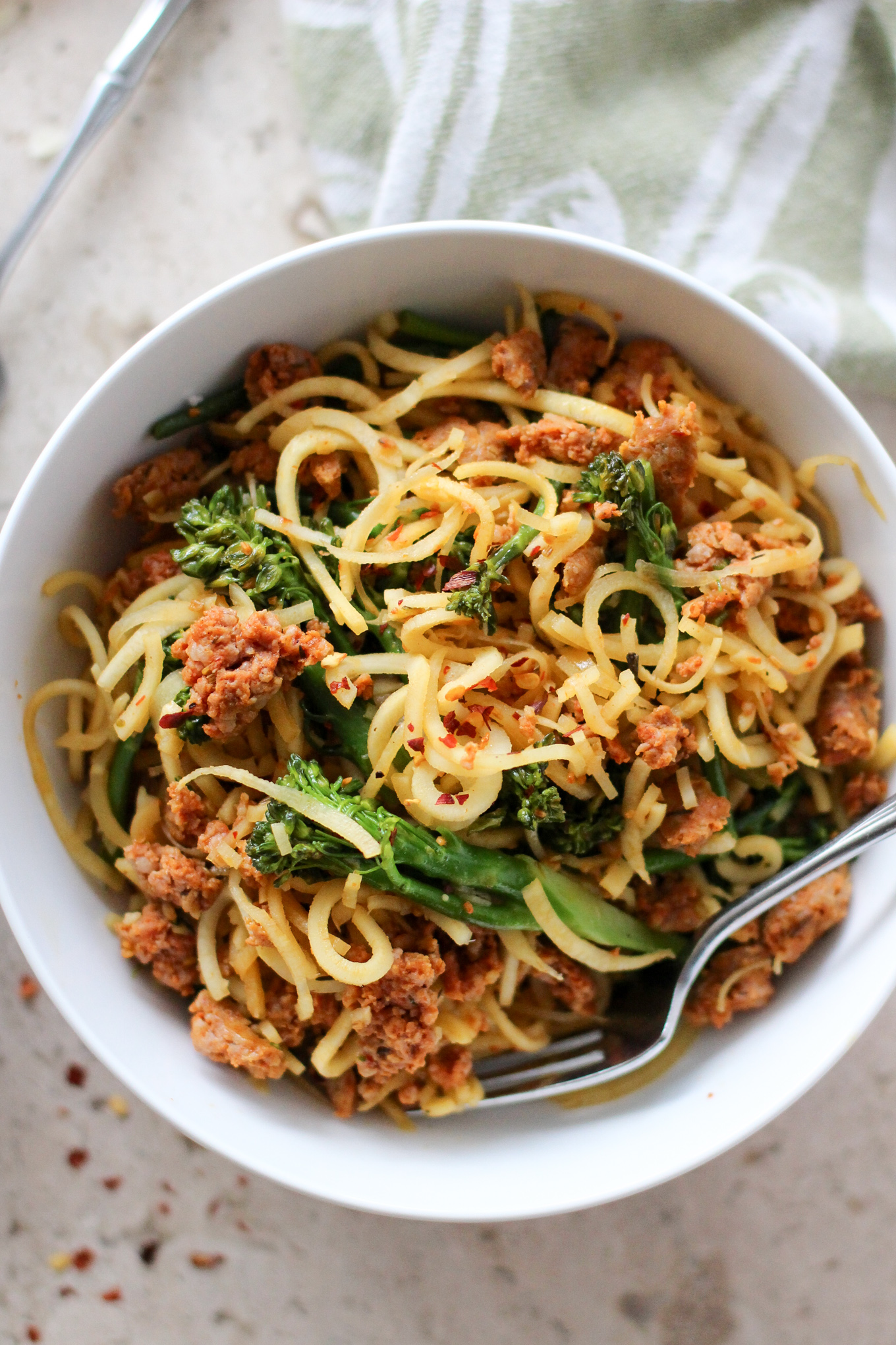 Spiralized Parsnips with Broccolini and Sausage