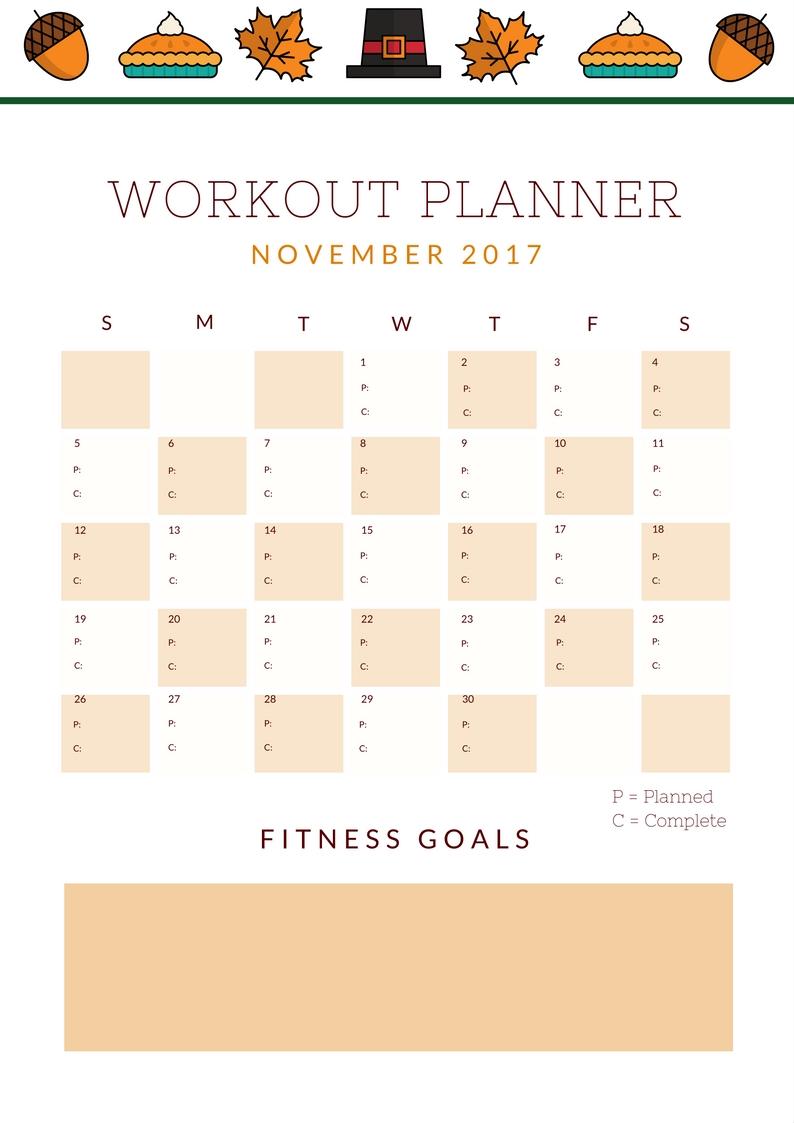 November Workout Planner