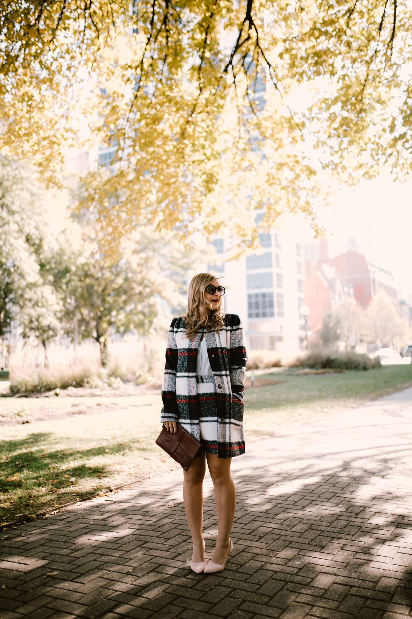 Affordable Plaid Coat & Skirt Set