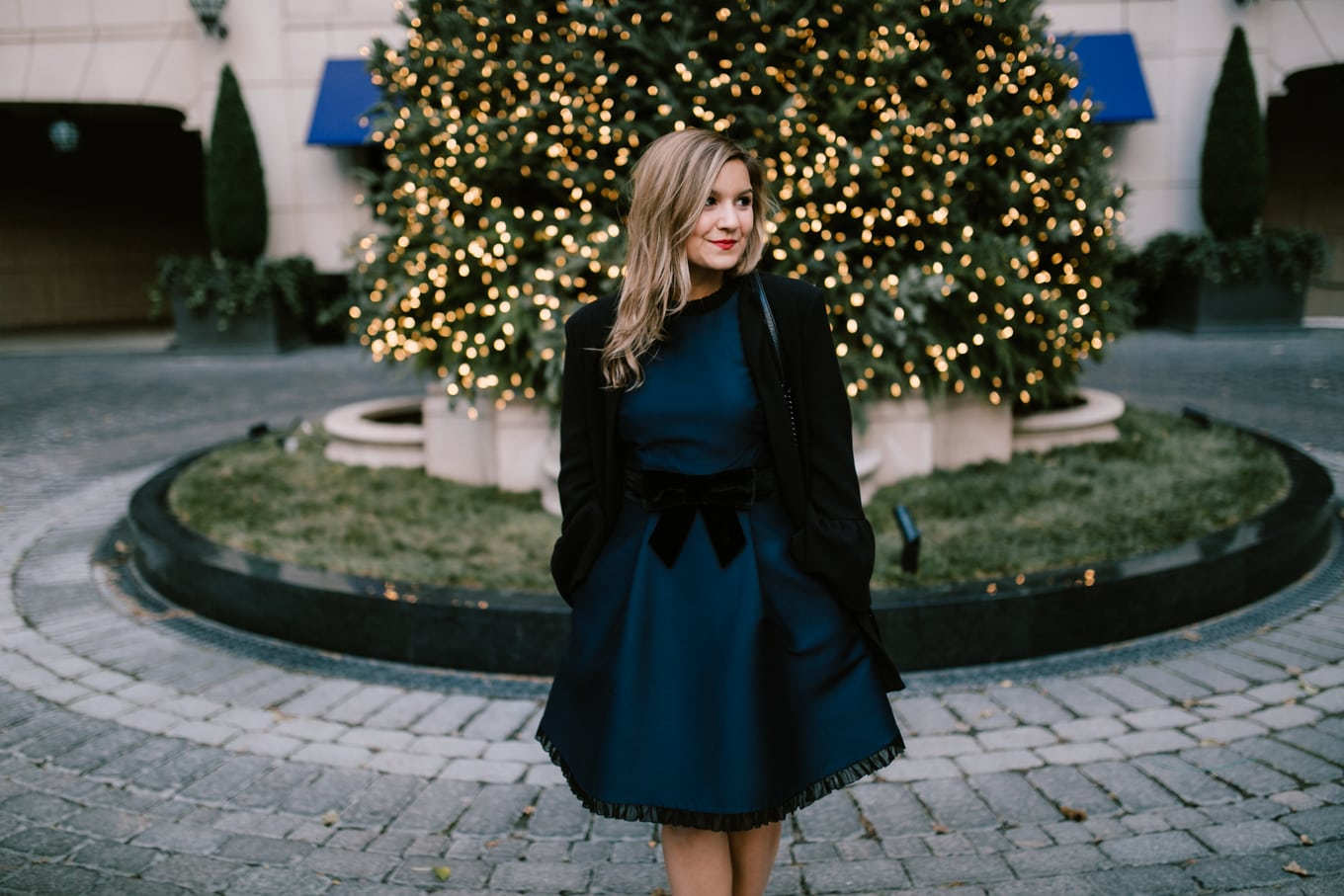Holiday dress: Kate Spade velvet bow dress