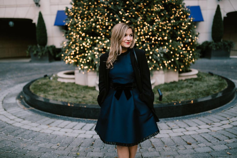 Holiday dress: Kate Spade velvet bow dress