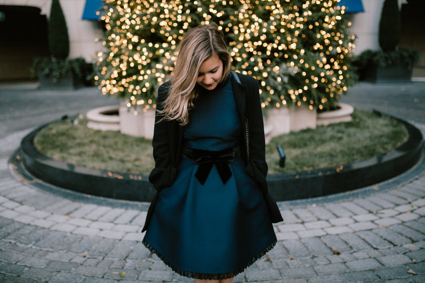 the perfect holiday dress: Kate Spade velvet bow dress