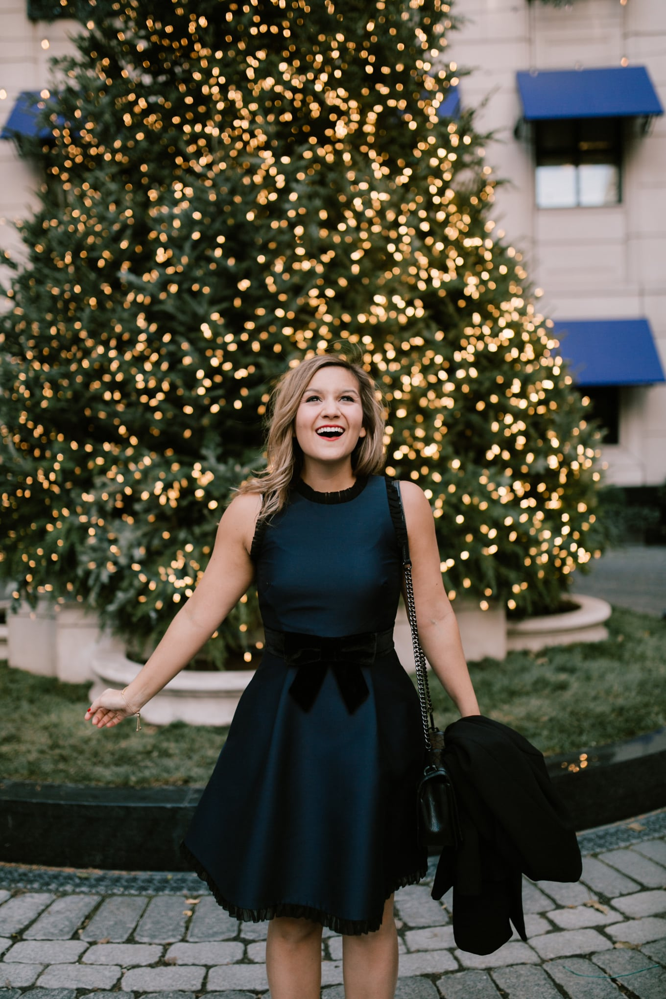 The perfect Christmas dress: Kate Spade velvet bow dress