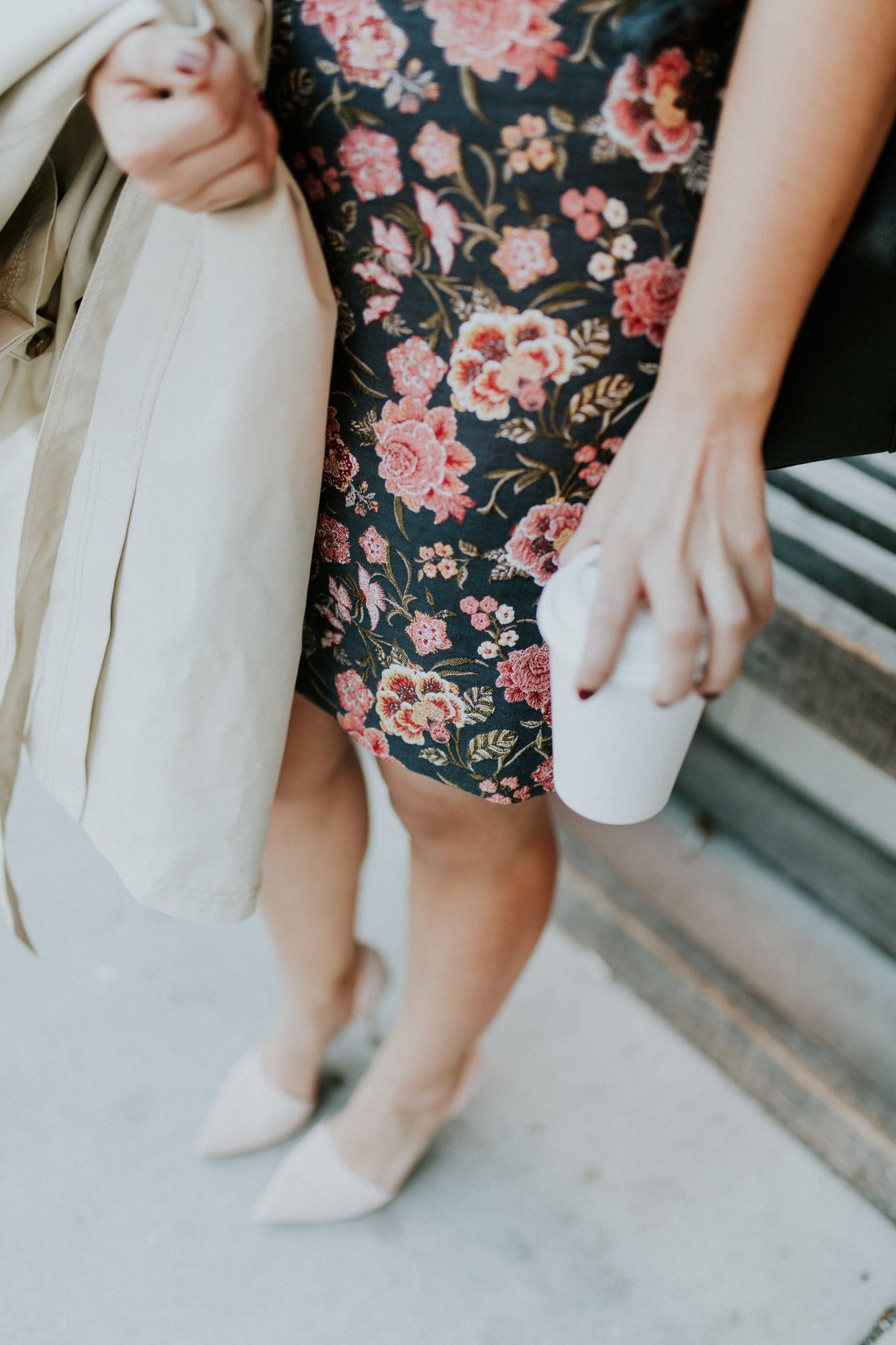 loft shift skirt: floral pattern