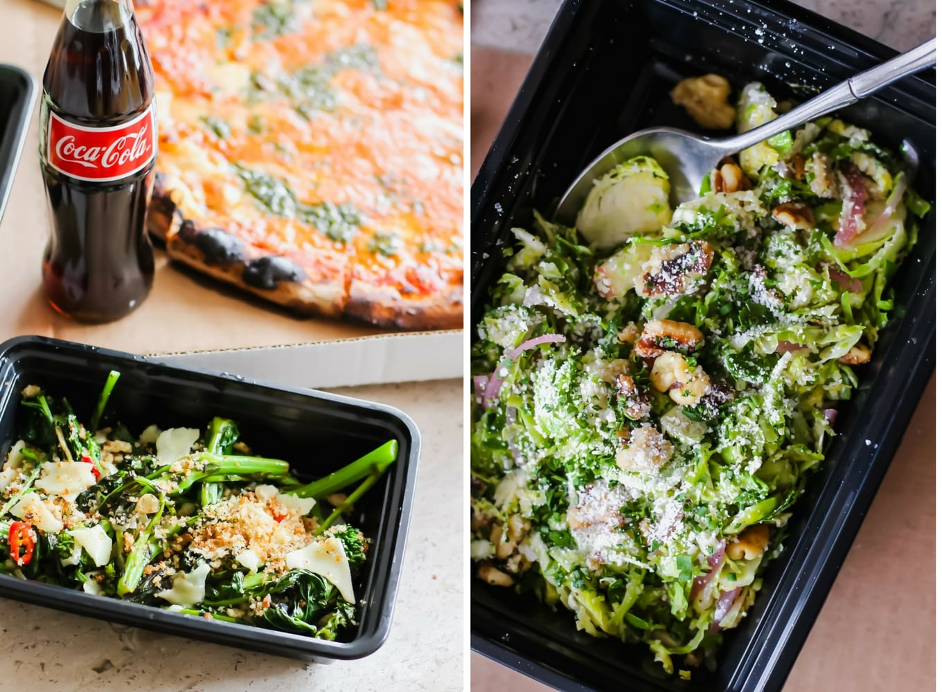 My Favorite Menu Items: Ode to Rubirosa Pizza (vodka sauce and nut free pesto!) and Brussel Sprout Salad