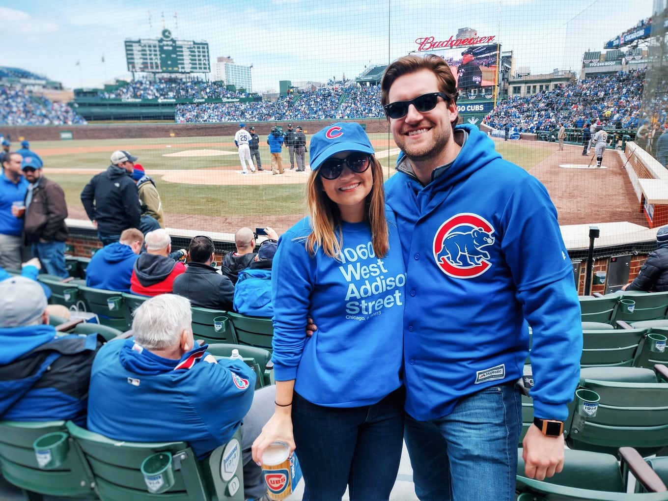 Lake shore lady at Cubs Home Opener with the Moto z2Force!