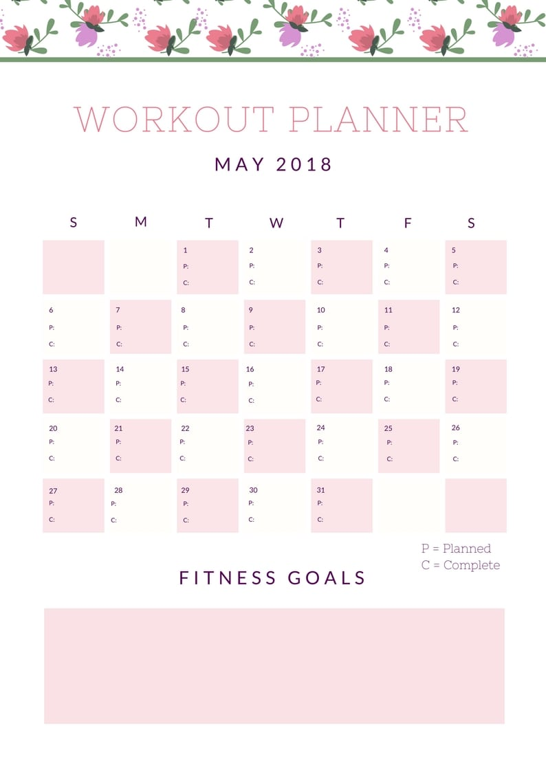 May Workout Planner - Lake Shore Lady