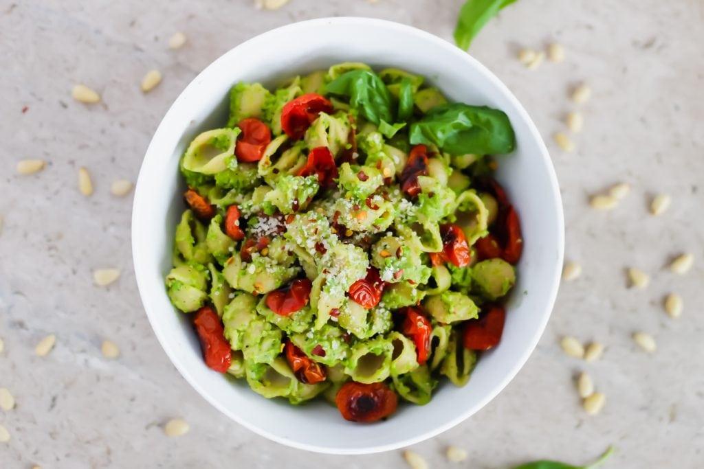 Easy Pea Pesto with Roasted Tomatoes