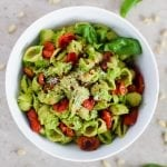 Easy Pea Pesto with Roasted Tomatoes