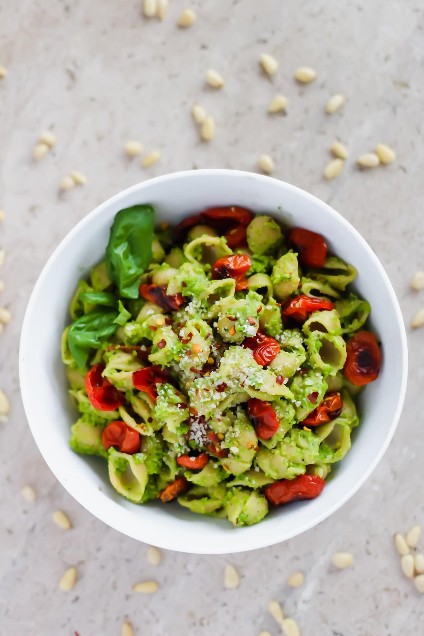 Easy Pea Pesto with Roasted Tomatoes Recipe