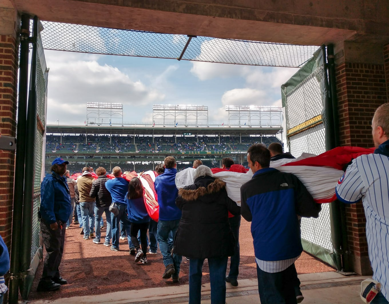 Carrying out the flag at the Cubs Stadium