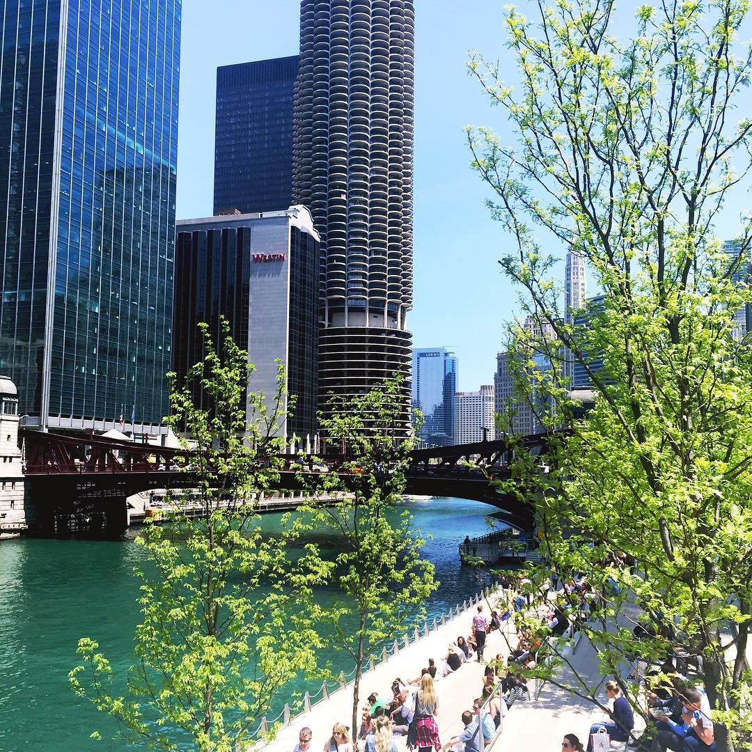 Stroll along the Chicago Riverwalk in Chicago during Summer