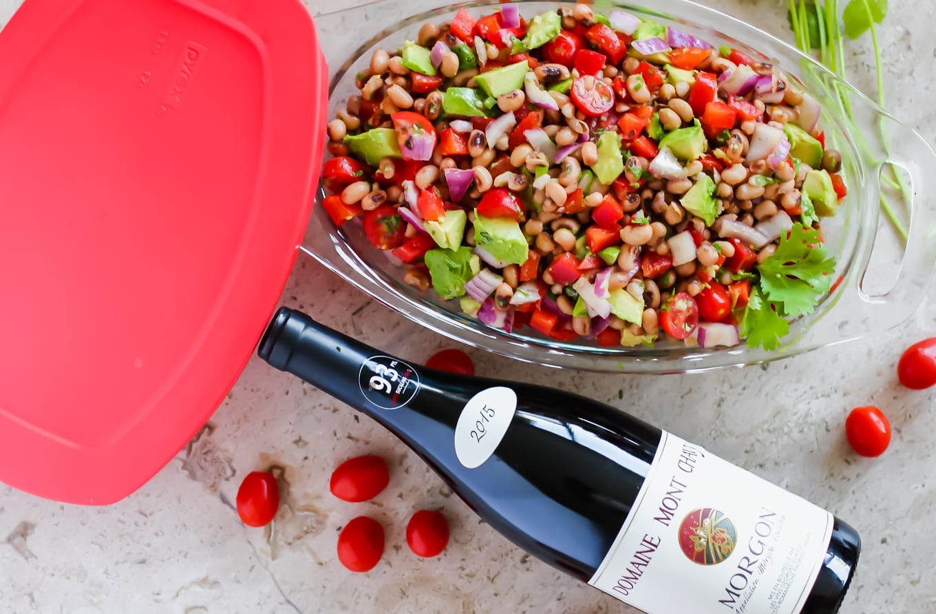 Morgon by Domaine Mont Chavy and black eyed pea salad - Lake Shore Lady