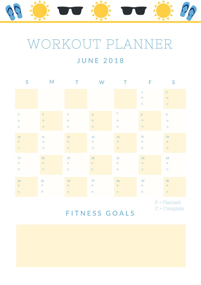 Workout Planner - Lake Shore Lady