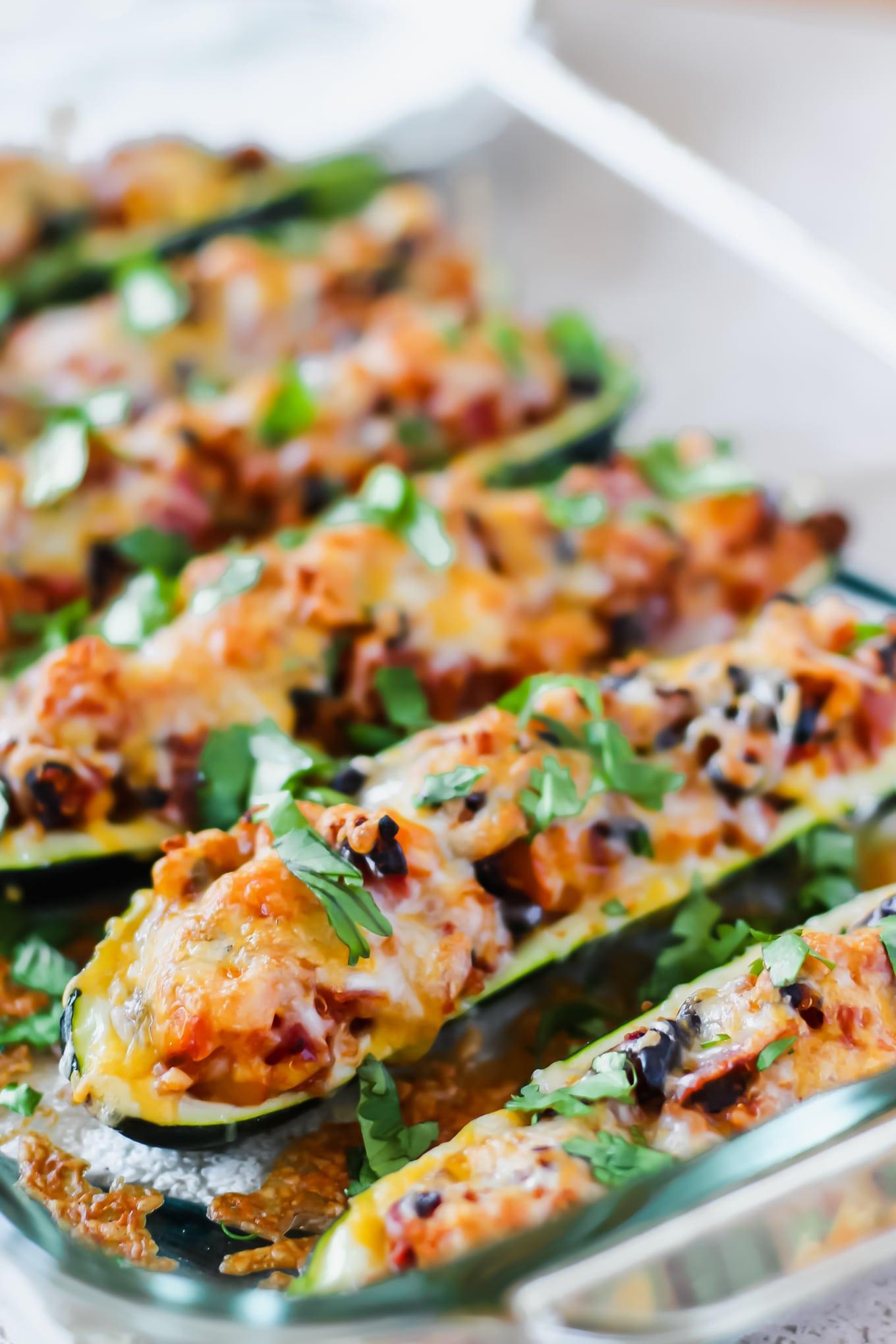 Vegetarian Zucchini Taco Boats