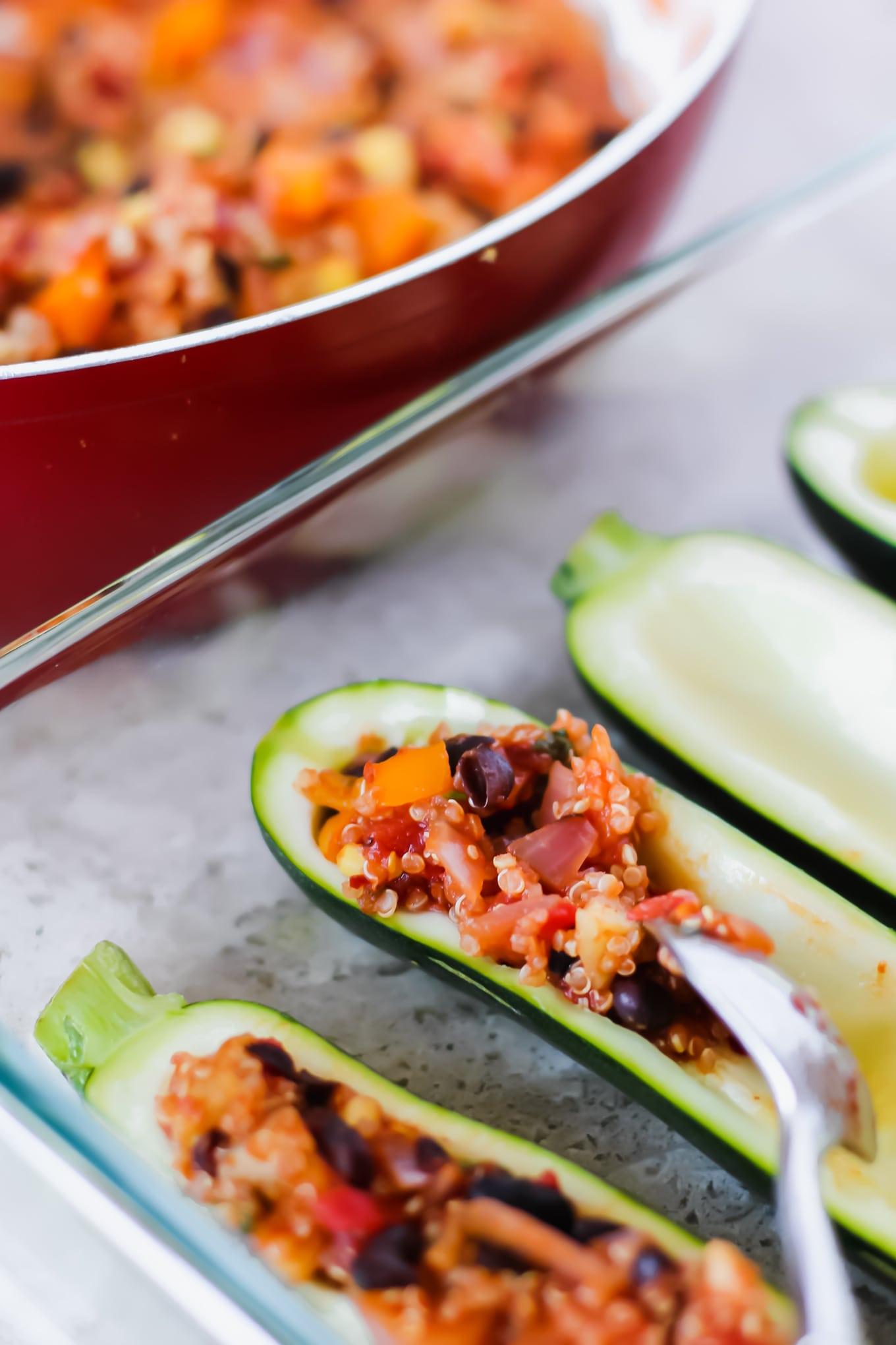 Healthy Vegetarian Recipe: Vegetarian Zucchini Taco Boats