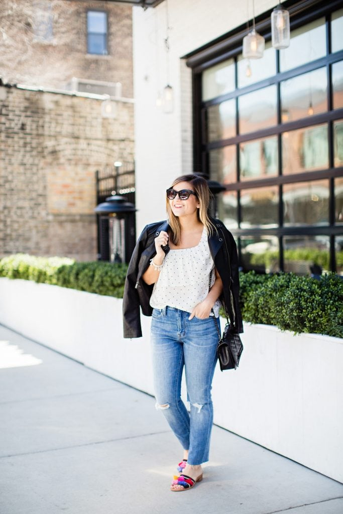 Lauren is wearing: Top: BB Dakota (on sale in ALL sizes!) | Jacket: c/o Coalition LA | Jeans: Madewell (runs true to size!) | Sunglasses: Loft | Bracelets: c/o Kendra Scott | Bag: Rebecca Minkoff | Tassel Sandals: Soludos - Lake Shore Lady