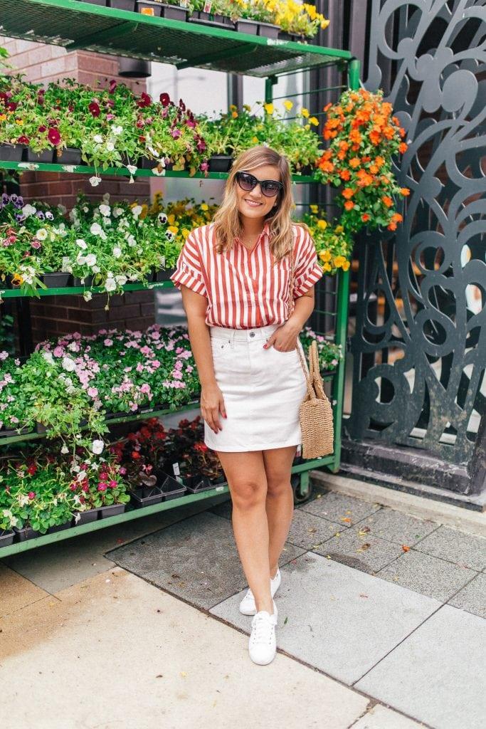 red and white shirt - Everlane - Lake Shore Lady