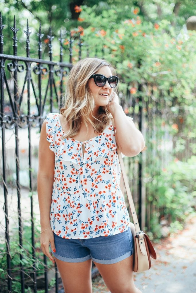 Lake Shore Lady floral ruffle top