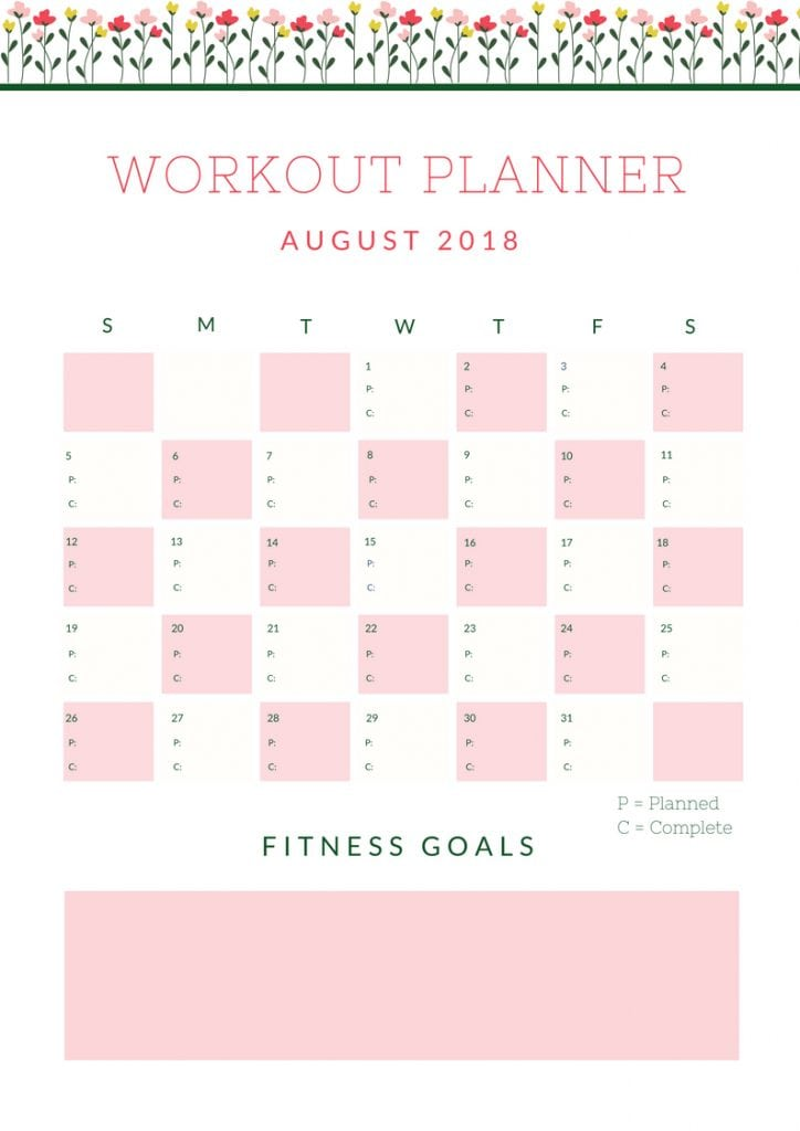 August Workout Planner 2018
