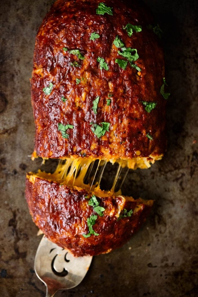 Cheddar-Stuffed Sweet Potato BBQ Turkey Meatloaf by Ambitious Kitchen