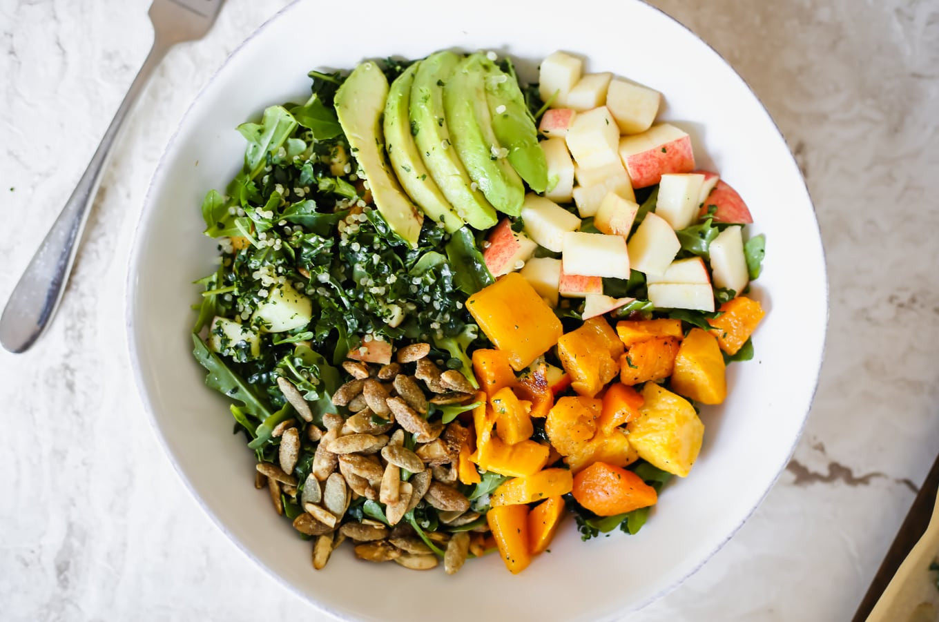 A Fall Power Salad with Butternut Squash, Apples, & Orange Bitters Dressing