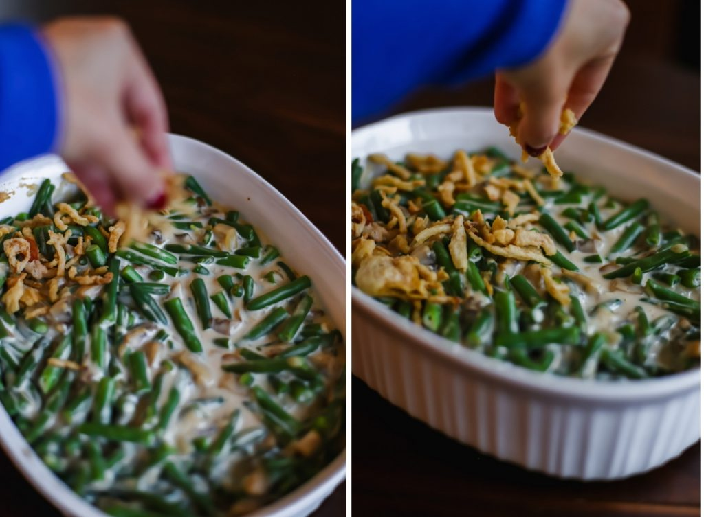 How to Make Green Bean Casserole with Fresh Green Beans - Add crispy onion topping