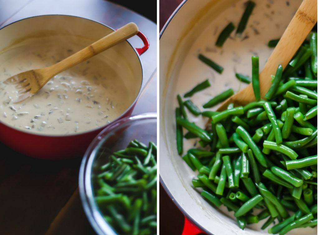 Once the sauce is done, it's time to toss the green beans in!